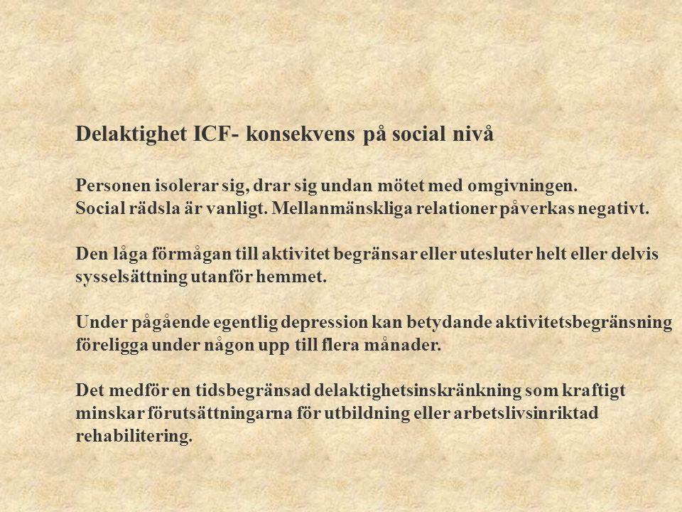 Delaktighet ICF- konsekvens på social nivå Koncentrationsbesvären gör att personen har svårt att ta till sig information vid konversation.