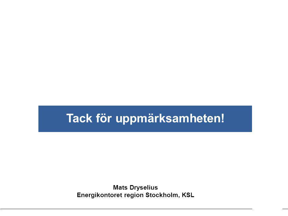 Kartläggning EnergirådgivningenKommunförbundet Stockholms län Mats Dryselius Energikontoret region Stockholm, KSL Tack för uppmärksamheten!