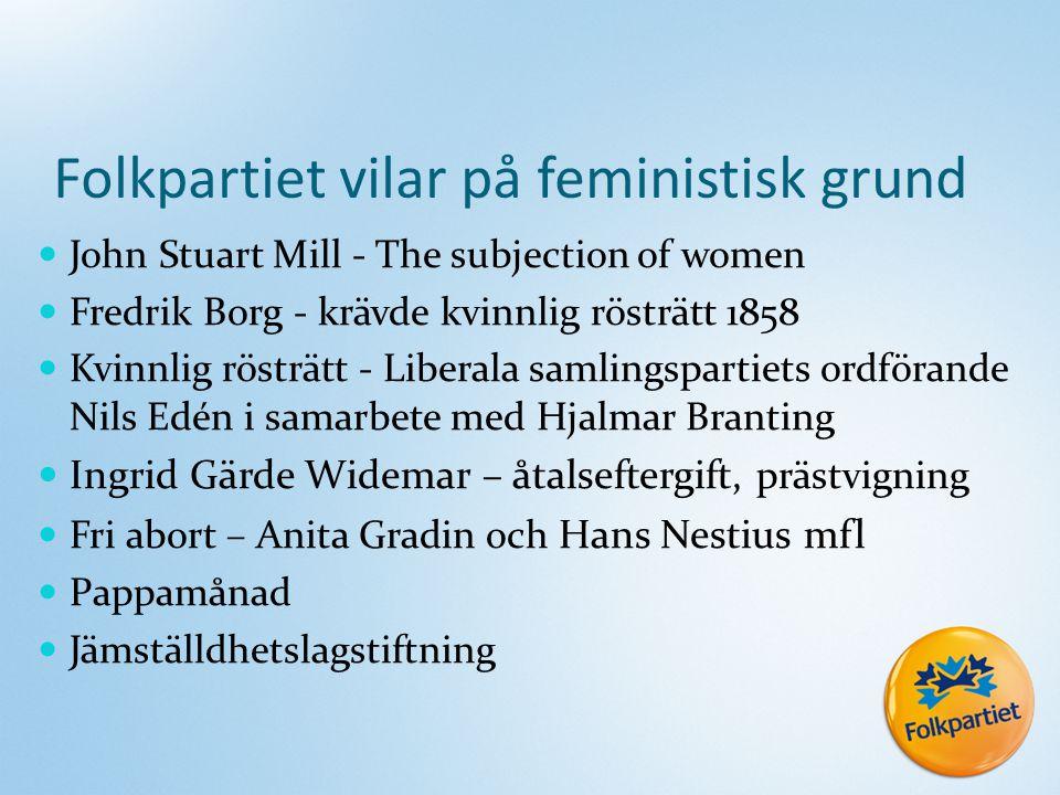 Folkpartiet vilar på feministisk grund John Stuart Mill - The subjection of women Fredrik Borg - krävde kvinnlig rösträtt 1858 Kvinnlig rösträtt - Lib