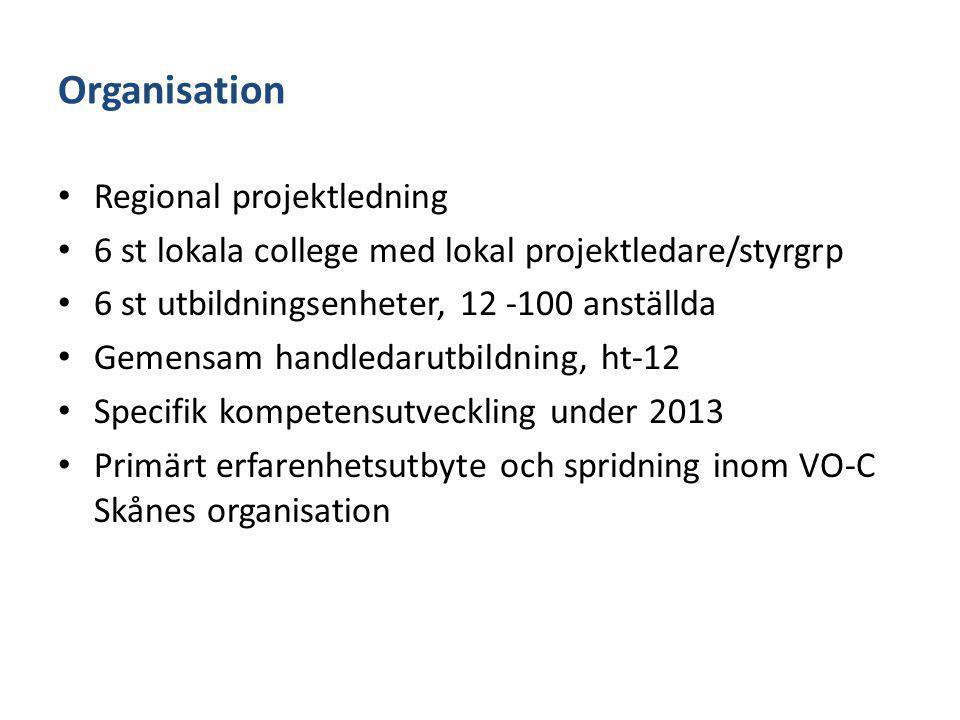 Organisation Regional projektledning 6 st lokala college med lokal projektledare/styrgrp 6 st utbildningsenheter, 12 -100 anställda Gemensam handledar