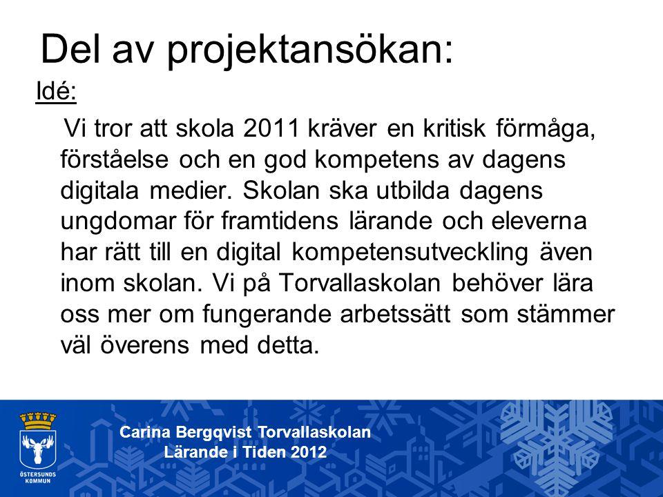 Idé: Vi tror att skola 2011 kräver en kritisk förmåga, förståelse och en god kompetens av dagens digitala medier. Skolan ska utbilda dagens ungdomar f