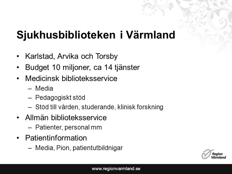 www.regionvarmland.se Sjukhusbiblioteken i Värmland Karlstad, Arvika och Torsby Budget 10 miljoner, ca 14 tjänster Medicinsk biblioteksservice –Media