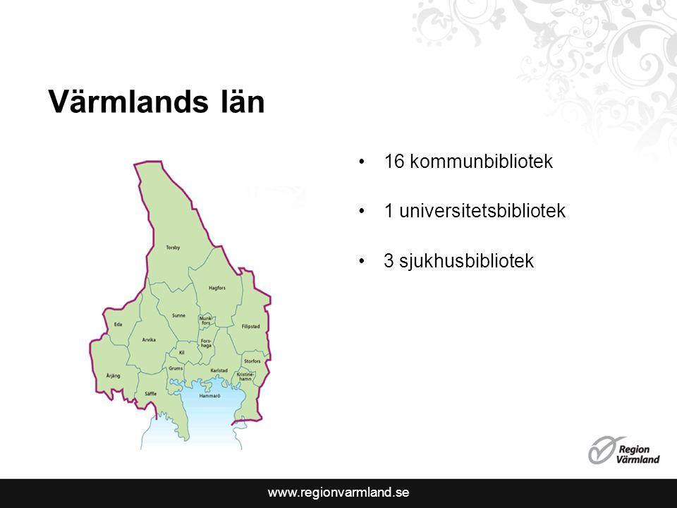 www.regionvarmland.se Sjukhusbiblioteken i Bibliotek Värmland Lån, transporter, lånekort Pionsamarbete Stöd till folkbibliotek Arbetsgrupper och möten