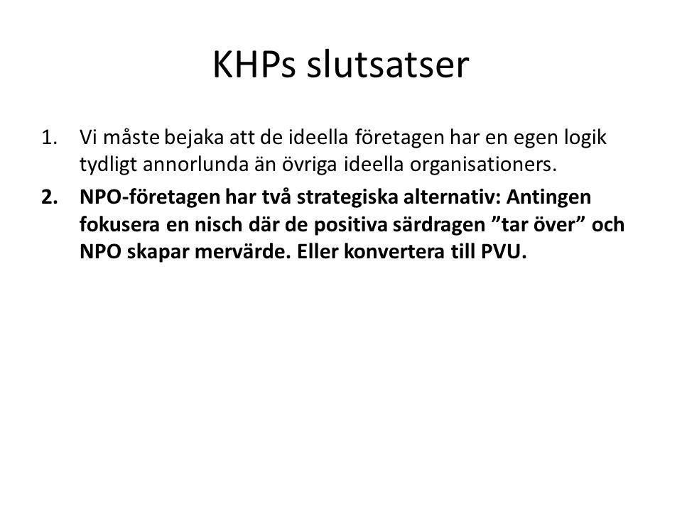 KHPs slutsatser 1.Vi måste bejaka att de ideella företagen har en egen logik tydligt annorlunda än övriga ideella organisationers. 2.NPO-företagen har
