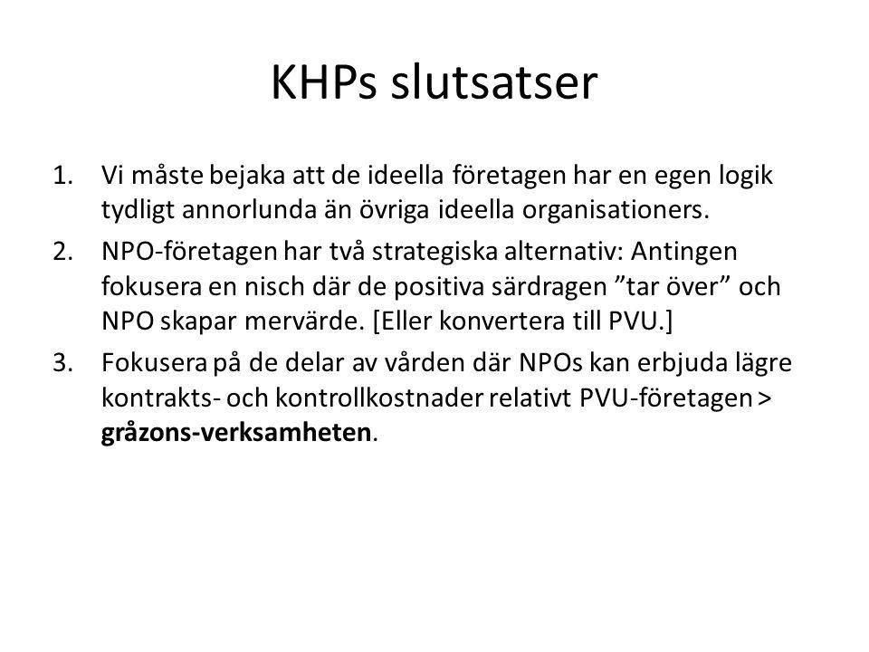 KHPs slutsatser 1.Vi måste bejaka att de ideella företagen har en egen logik tydligt annorlunda än övriga ideella organisationers.