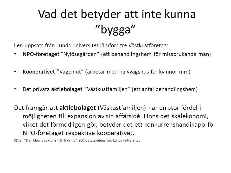 Vad det betyder att inte kunna bygga I en uppsats från Lunds universitet jämförs tre Västkustföretag: NPO-företaget Nylösegården (ett behandlingshem för missbrukande män) Kooperativet Vägen ut (arbetar med halvvägshus för kvinnor mm) Det privata aktiebolaget Västkustfamiljen (ett antal behandlingshem) Det framgår att aktiebolaget (Väskustfamiljen) har en stor fördel i möjligheten till expansion av sin affärsidé.