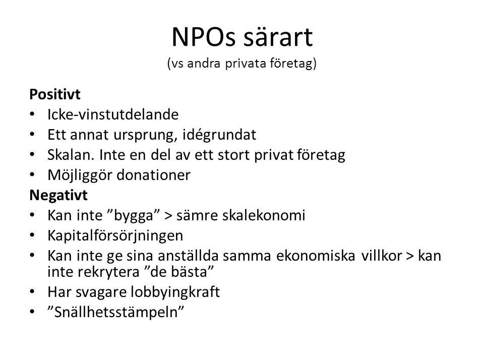 NPOs särart (vs andra privata företag) Positivt Icke-vinstutdelande Ett annat ursprung, idégrundat Skalan. Inte en del av ett stort privat företag Möj