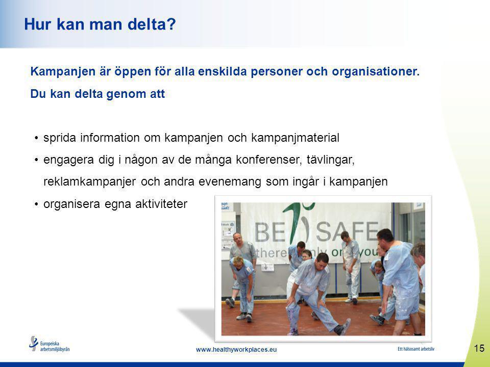 15 www.healthyworkplaces.eu Hur kan man delta.