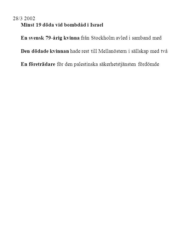 28/3 2002 Minst 19 döda vid bombdåd i Israel En svensk 79-årig kvinna från Stockholm avled i samband med Textens språk: Svenska Ord före 450 Ord efter 27 Sammanfattningsgrad: 6% Typ av text: tidningstext Nyckelord: israel arvidsson svensk minst skuld skada palestinsk hotell kvinna attentat