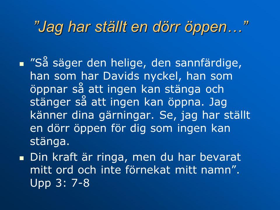Jag har ställt en dörr öppen… Så säger den helige, den sannfärdige, han som har Davids nyckel, han som öppnar så att ingen kan stänga och stänger så att ingen kan öppna.