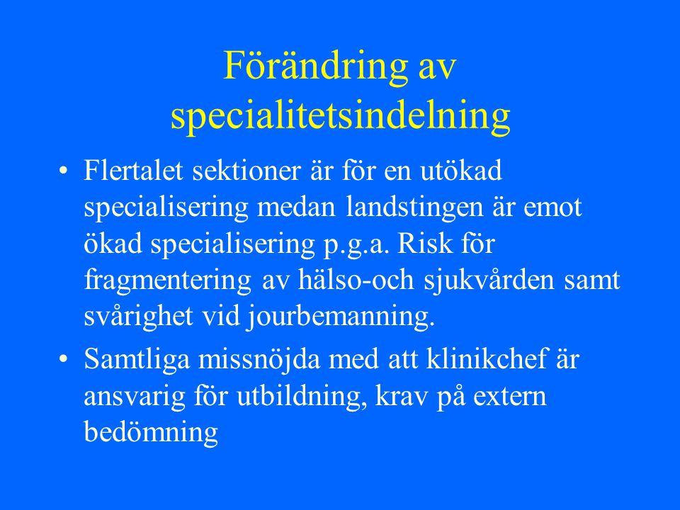 Förändring av specialitetsindelning Flertalet sektioner är för en utökad specialisering medan landstingen är emot ökad specialisering p.g.a. Risk för