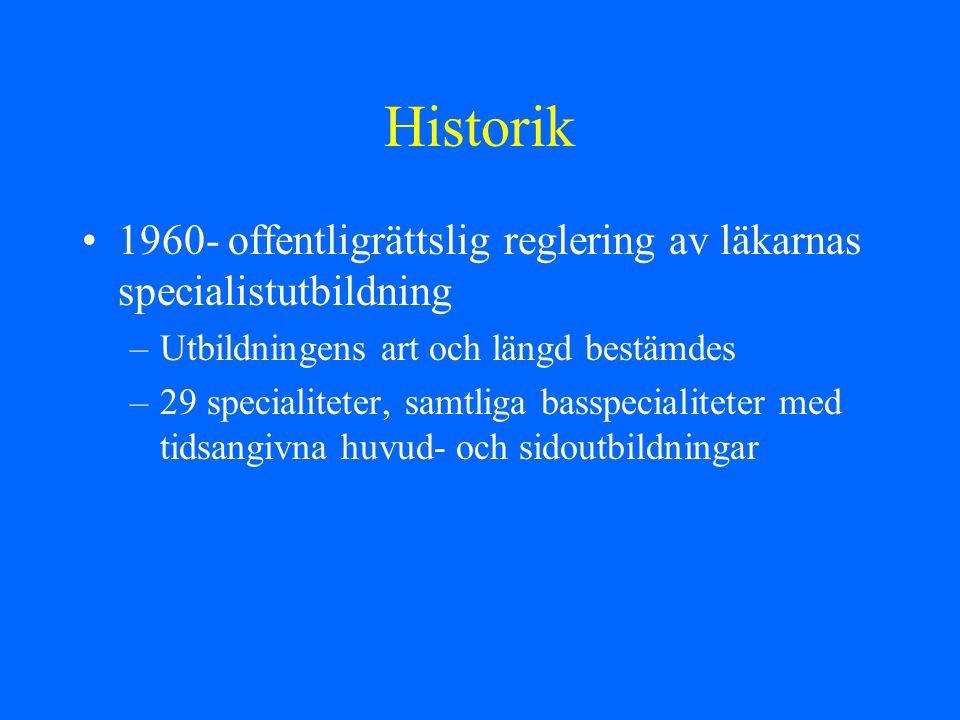 Historik 1969- inrättande av särskilda läkartjänster (visstidsförordnande) för läkare under vidareutbildning –Obligatoriska teoretiska moment –44 specialiteter uppbyggda dels basspecialiteter, dels basspecailiteter med grenspecialiteter knutna till invärtes sjukdomar, kirurgiska sjukdomar, radiologi, lab, ÖNH, psyk.