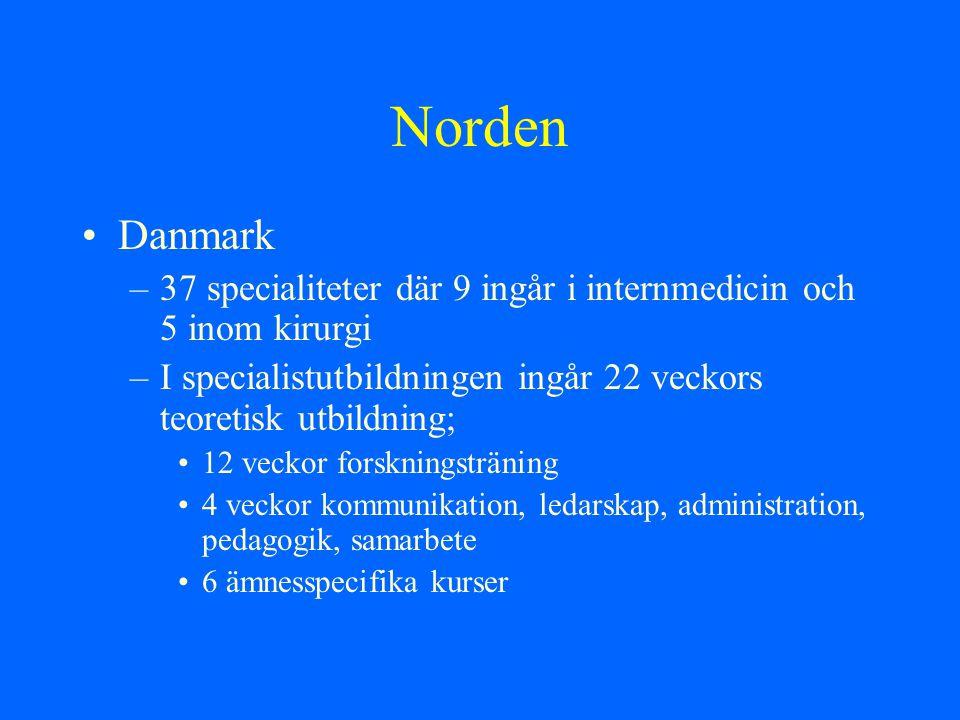 Norden Danmark –37 specialiteter där 9 ingår i internmedicin och 5 inom kirurgi –I specialistutbildningen ingår 22 veckors teoretisk utbildning; 12 ve