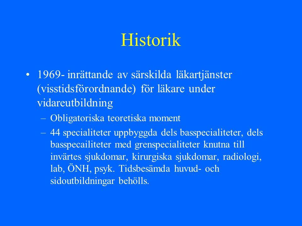 Historik 1969- inrättande av särskilda läkartjänster (visstidsförordnande) för läkare under vidareutbildning –Obligatoriska teoretiska moment –44 spec