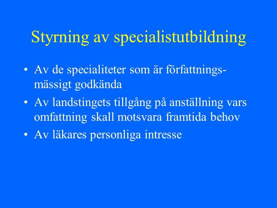 Styrning av specialistutbildning Av de specialiteter som är författnings- mässigt godkända Av landstingets tillgång på anställning vars omfattning ska