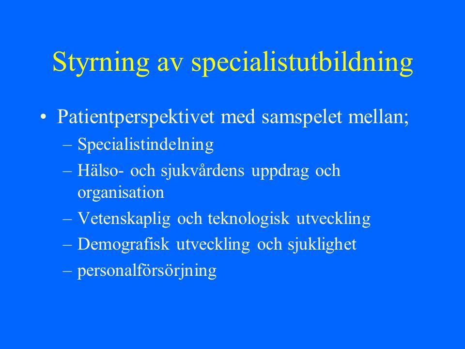 Styrning av specialistutbildning Patientperspektivet med samspelet mellan; –Specialistindelning –Hälso- och sjukvårdens uppdrag och organisation –Vete