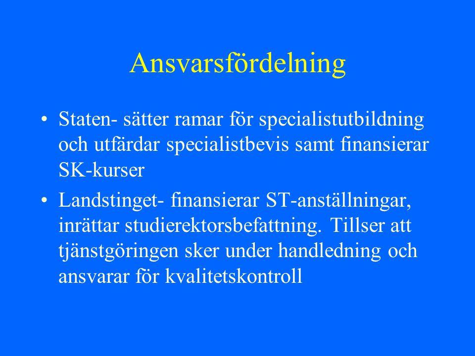 Ansvarsfördelning Staten- sätter ramar för specialistutbildning och utfärdar specialistbevis samt finansierar SK-kurser Landstinget- finansierar ST-an