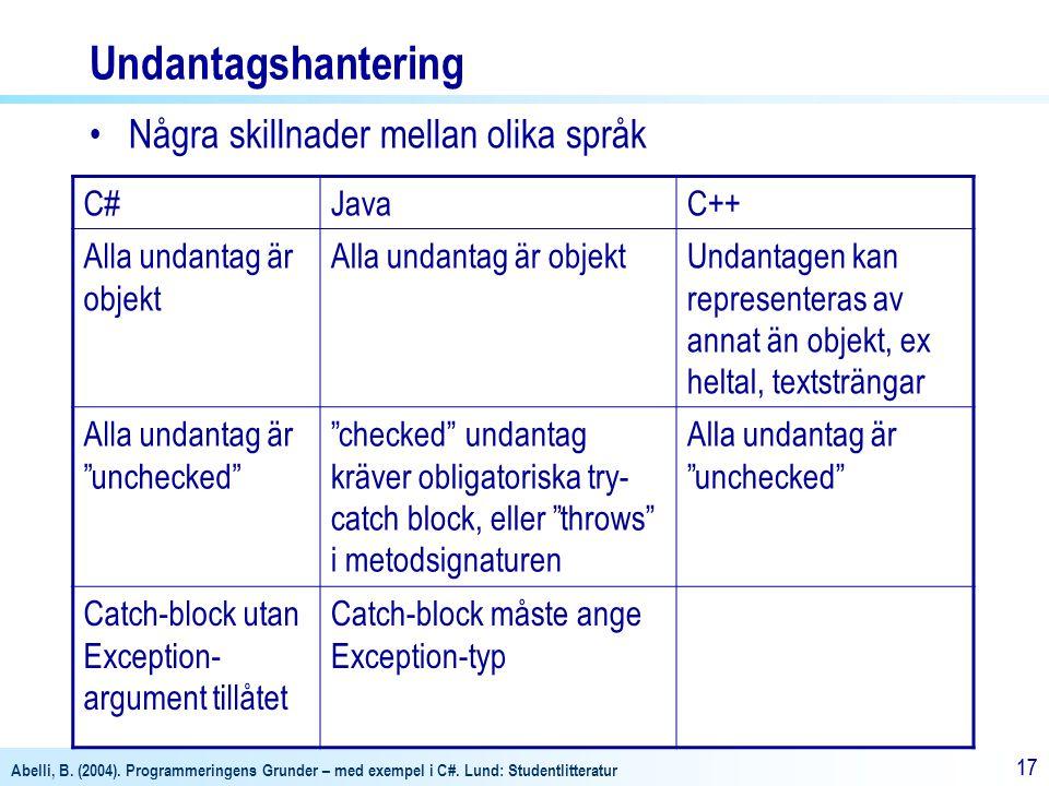 Abelli, B. (2004). Programmeringens Grunder – med exempel i C#. Lund: Studentlitteratur 17 Undantagshantering Några skillnader mellan olika språk C#Ja