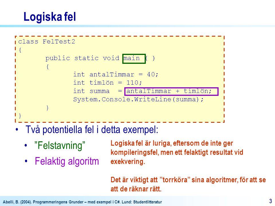 Abelli, B. (2004). Programmeringens Grunder – med exempel i C#. Lund: Studentlitteratur 33 Logiska fel class FelTest2 { public static void main ( ) {
