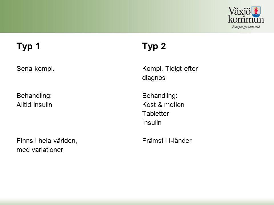 Typ 1 Sena kompl. Behandling: Alltid insulin Finns i hela världen, med variationer Typ 2 Kompl. Tidigt efter diagnos Behandling: Kost & motion Tablett