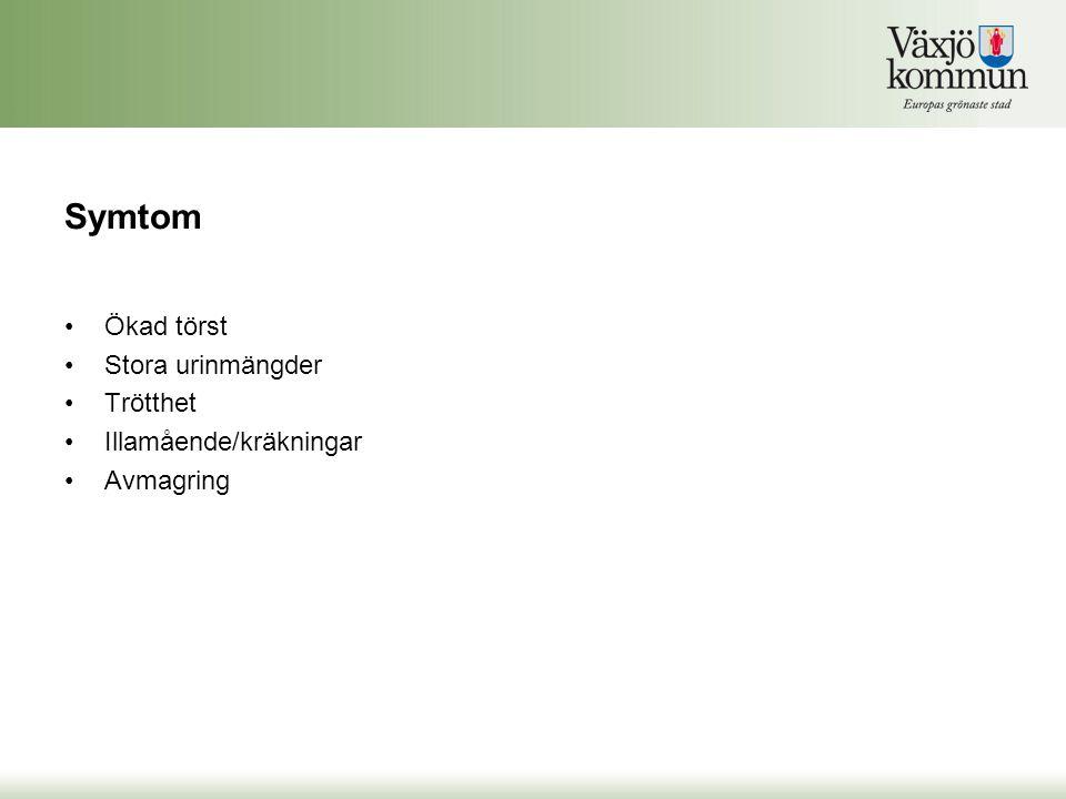 Symtom Ökad törst Stora urinmängder Trötthet Illamående/kräkningar Avmagring