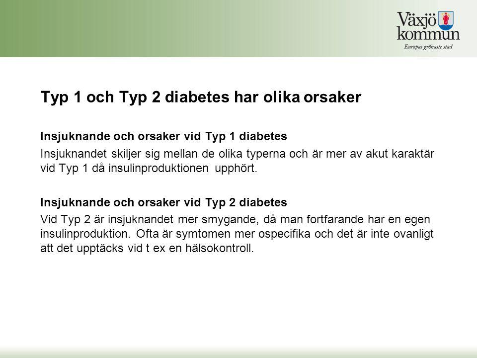 Typ 1 och Typ 2 diabetes har olika orsaker Insjuknande och orsaker vid Typ 1 diabetes Insjuknandet skiljer sig mellan de olika typerna och är mer av a