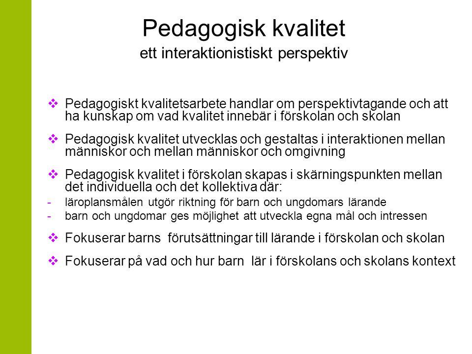 Pedagogisk kvalitet och barns lärande  Vad karaktäriserar en lärandemiljö av hög pedagogisk kvalitet i förskolan.