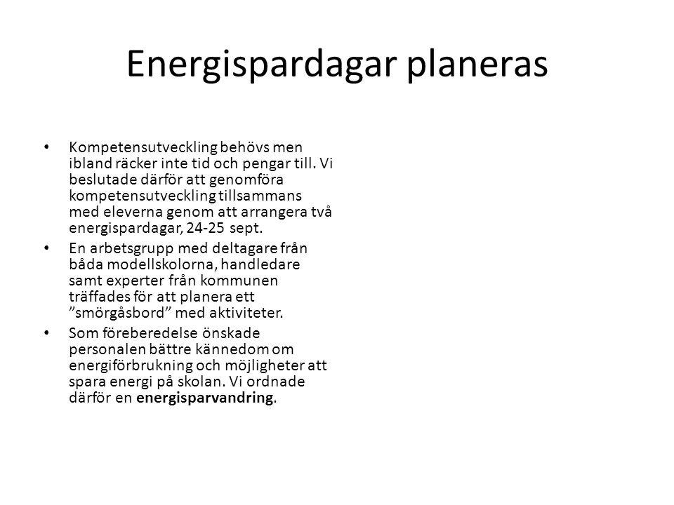 Energispardagar planeras Kompetensutveckling behövs men ibland räcker inte tid och pengar till. Vi beslutade därför att genomföra kompetensutveckling