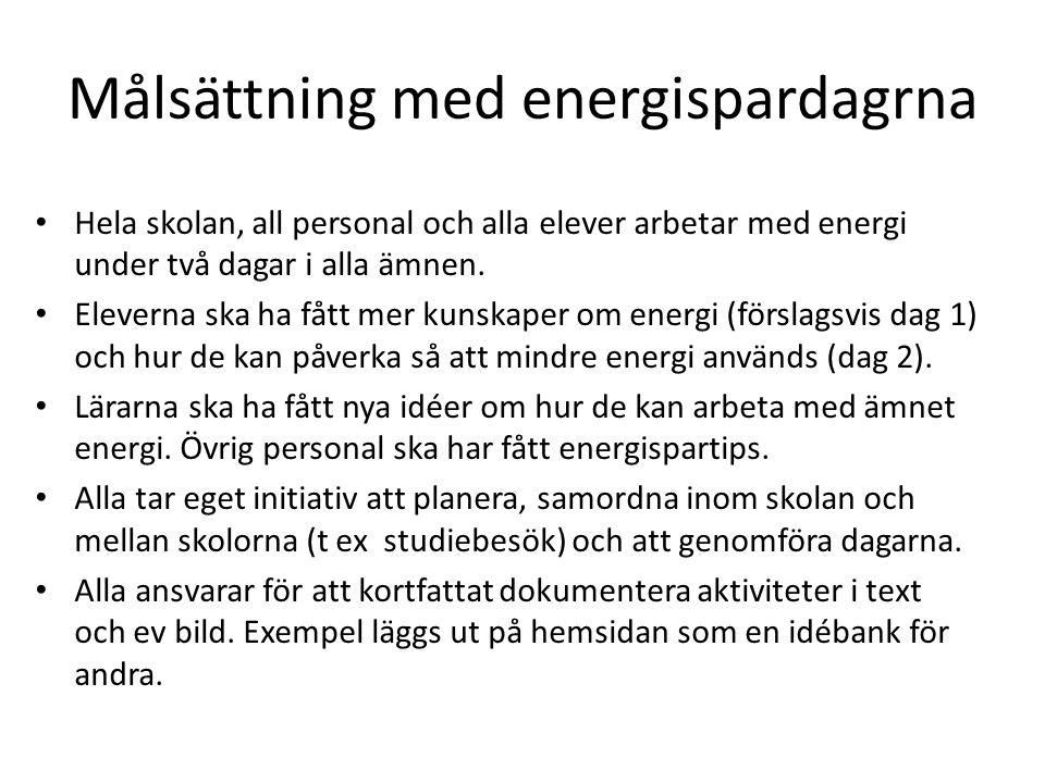 Målsättning med energispardagrna Hela skolan, all personal och alla elever arbetar med energi under två dagar i alla ämnen. Eleverna ska ha fått mer k