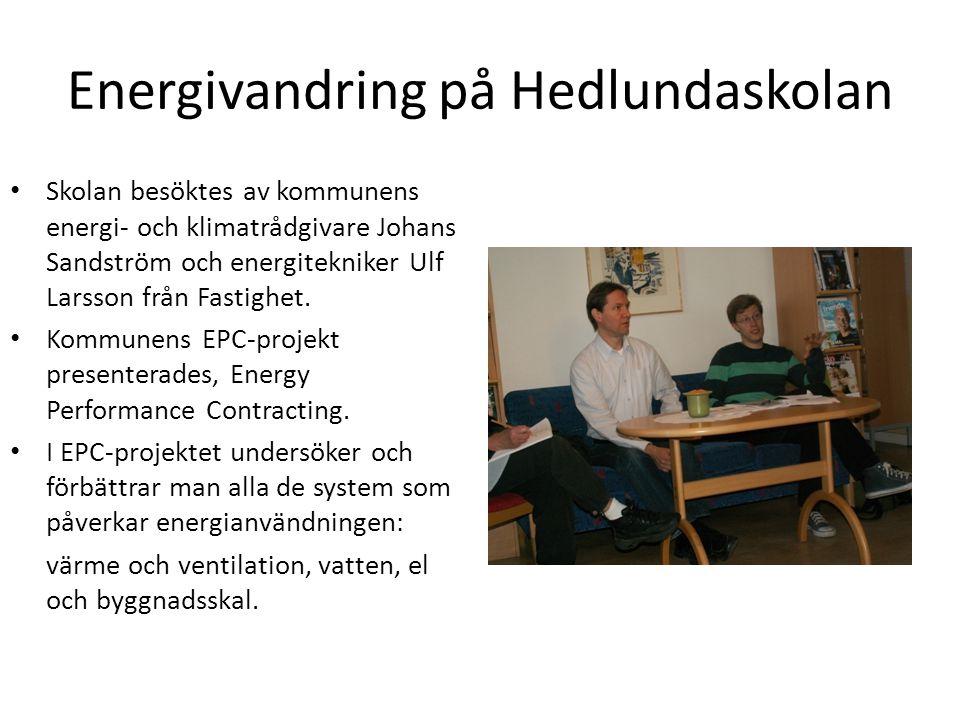 Energivandring på Hedlundaskolan Skolan besöktes av kommunens energi- och klimatrådgivare Johans Sandström och energitekniker Ulf Larsson från Fastigh