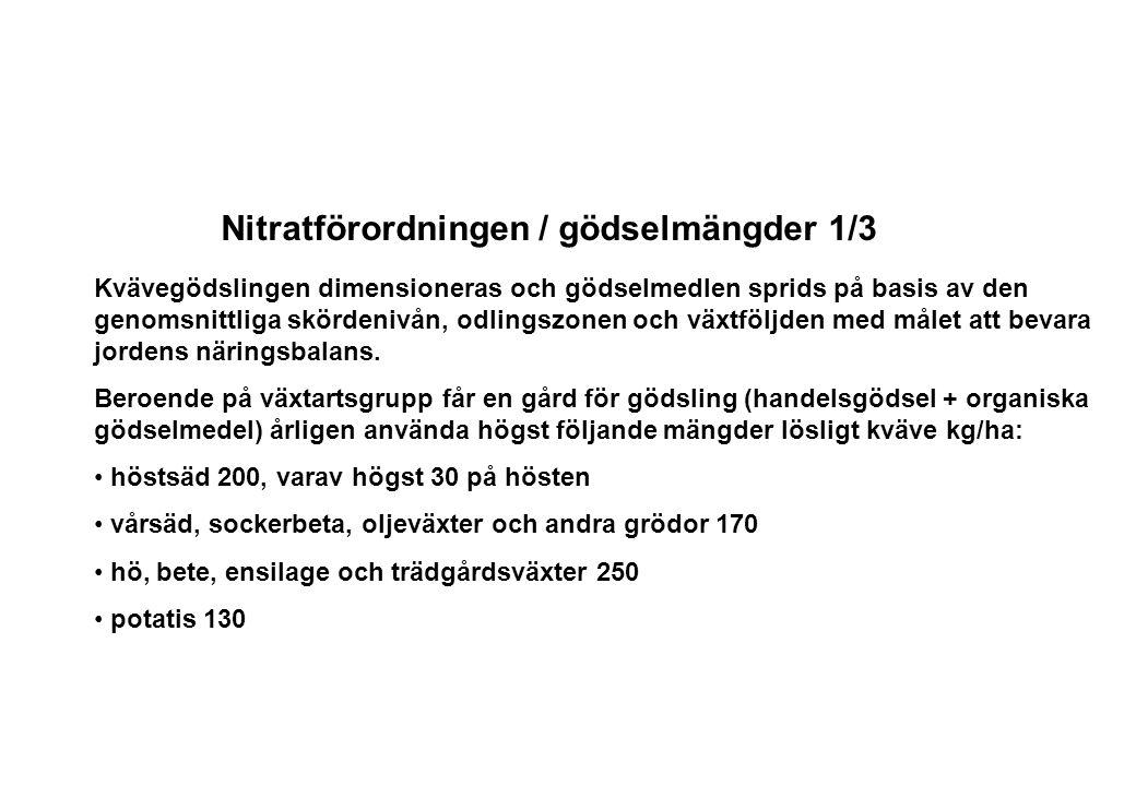Nitratförordningen / gödselmängder 1/3 Kvävegödslingen dimensioneras och gödselmedlen sprids på basis av den genomsnittliga skördenivån, odlingszonen