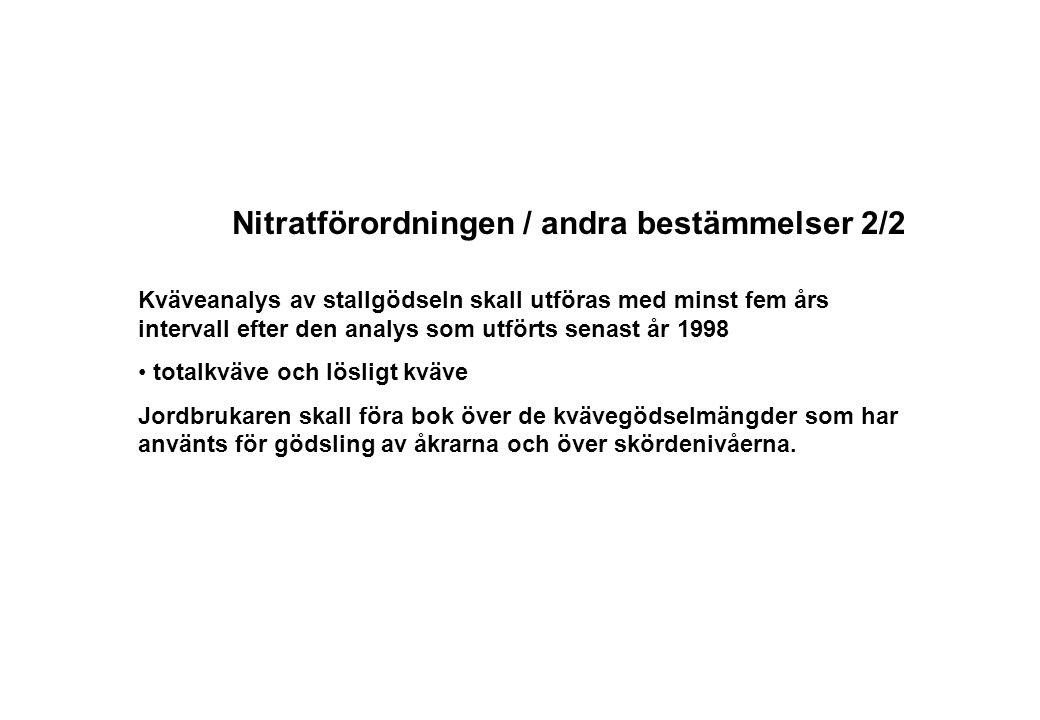 Nitratförordningen / andra bestämmelser 2/2 Kväveanalys av stallgödseln skall utföras med minst fem års intervall efter den analys som utförts senast år 1998 totalkväve och lösligt kväve Jordbrukaren skall föra bok över de kvävegödselmängder som har använts för gödsling av åkrarna och över skördenivåerna.