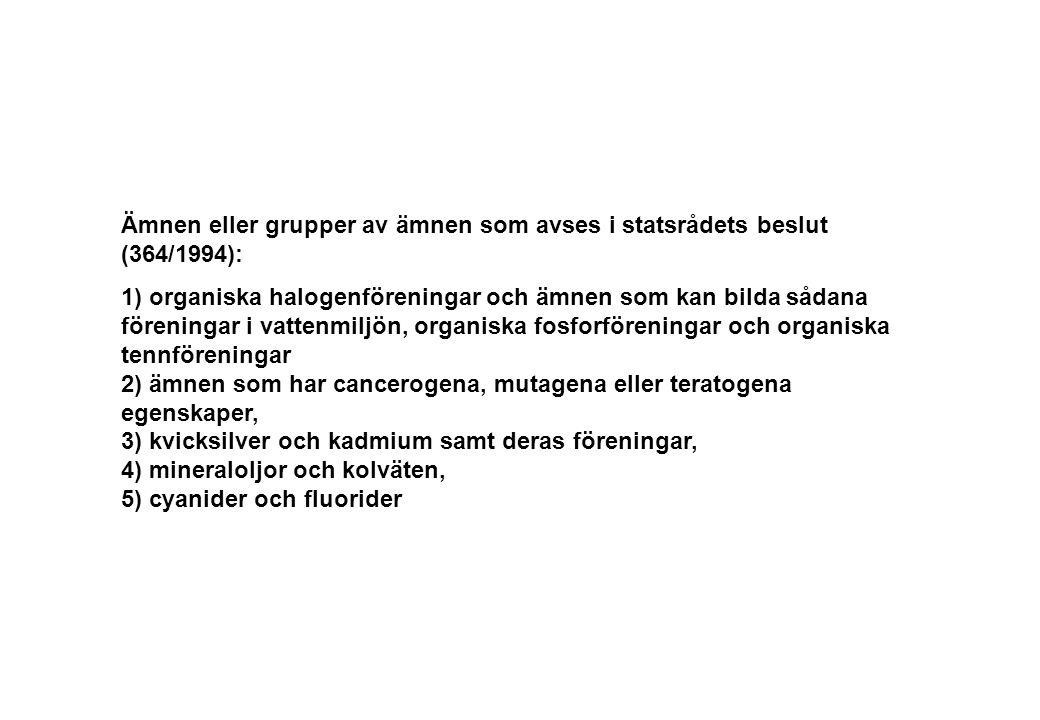 Ämnen eller grupper av ämnen som avses i statsrådets beslut (364/1994): 1) organiska halogenföreningar och ämnen som kan bilda sådana föreningar i vat