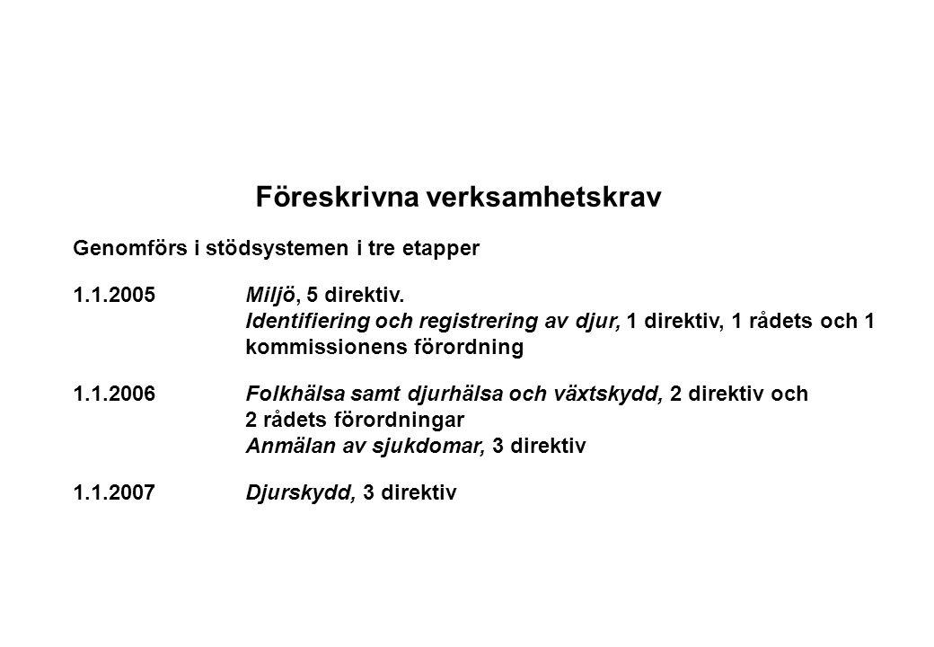 Föreskrivna verksamhetskrav Genomförs i stödsystemen i tre etapper 1.1.2005Miljö, 5 direktiv. Identifiering och registrering av djur, 1 direktiv, 1 rå