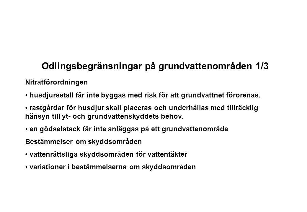 Odlingsbegränsningar på grundvattenområden 1/3 Nitratförordningen husdjursstall får inte byggas med risk för att grundvattnet förorenas. rastgårdar fö
