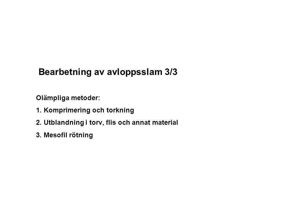 Bearbetning av avloppsslam 3/3 Olämpliga metoder: 1. Komprimering och torkning 2. Utblandning i torv, flis och annat material 3. Mesofil rötning