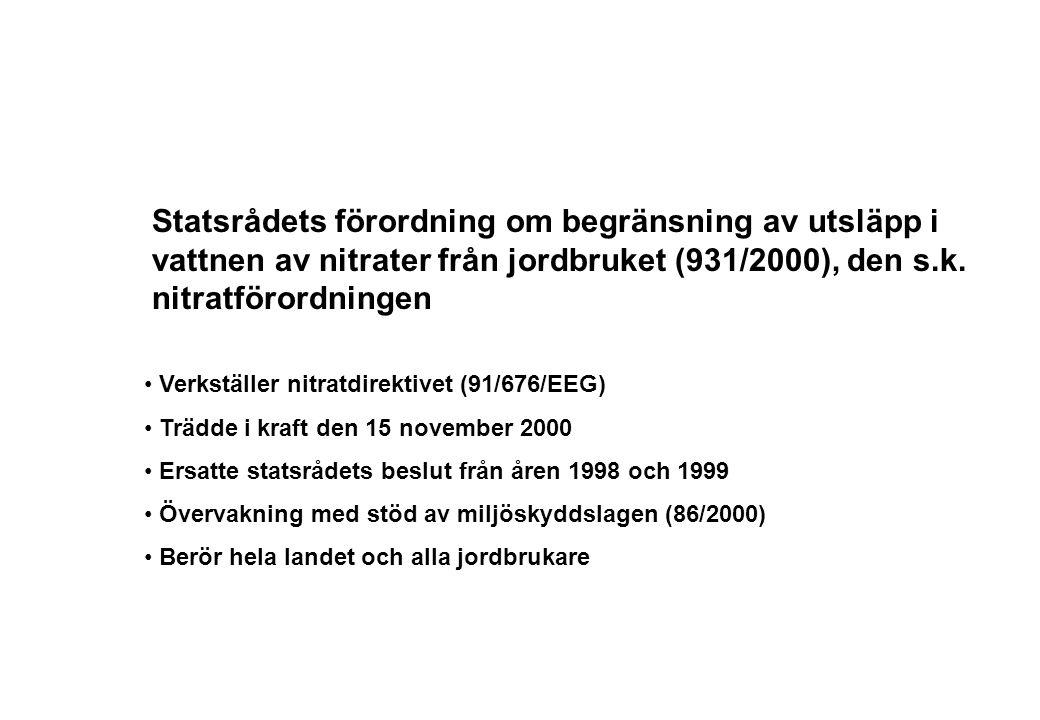 Statsrådets förordning om begränsning av utsläpp i vattnen av nitrater från jordbruket (931/2000), den s.k. nitratförordningen Verkställer nitratdirek