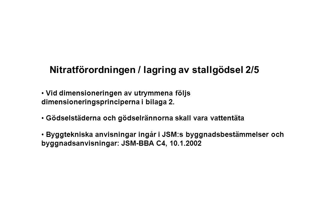 Nitratförordningen / lagring av stallgödsel 2/5 Vid dimensioneringen av utrymmena följs dimensioneringsprinciperna i bilaga 2. Gödselstäderna och göds