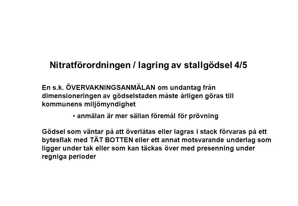 Nitratförordningen / lagring av stallgödsel 4/5 En s.k. ÖVERVAKNINGSANMÄLAN om undantag från dimensioneringen av gödselstaden måste årligen göras till
