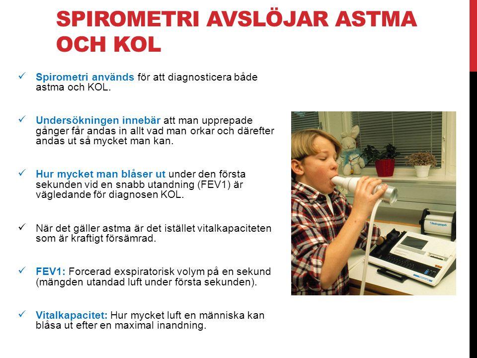 SPIROMETRI AVSLÖJAR ASTMA OCH KOL Spirometri används för att diagnosticera både astma och KOL. Undersökningen innebär att man upprepade gånger får and