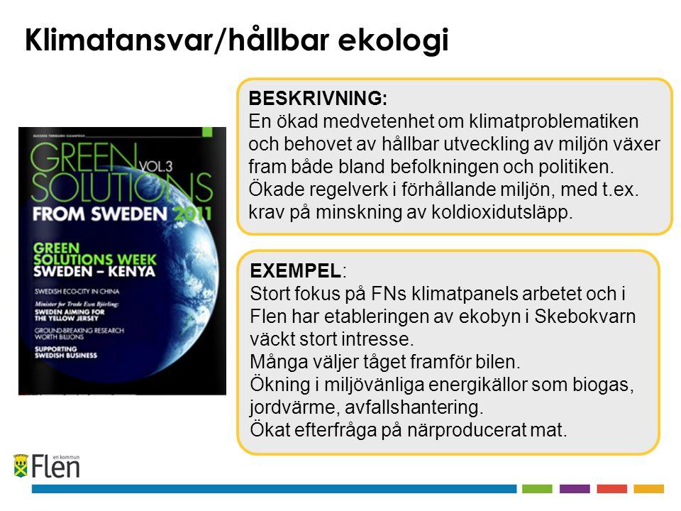EXEMPEL: Stort fokus på FNs klimatpanels arbetet och i Flen har etableringen av ekobyn i Skebokvarn väckt stort intresse.