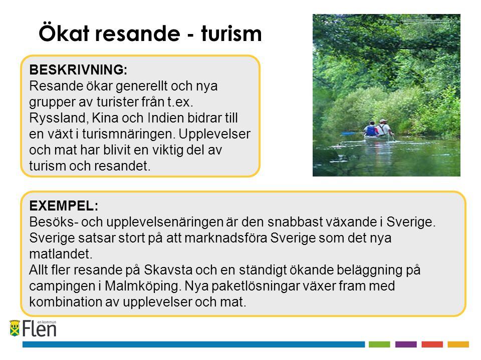 EXEMPEL: Besöks- och upplevelsenäringen är den snabbast växande i Sverige.