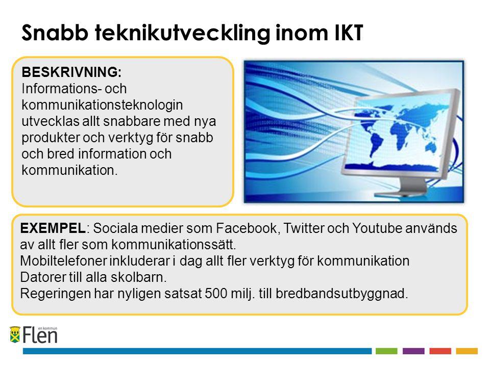 EXEMPEL: Sociala medier som Facebook, Twitter och Youtube används av allt fler som kommunikationssätt.