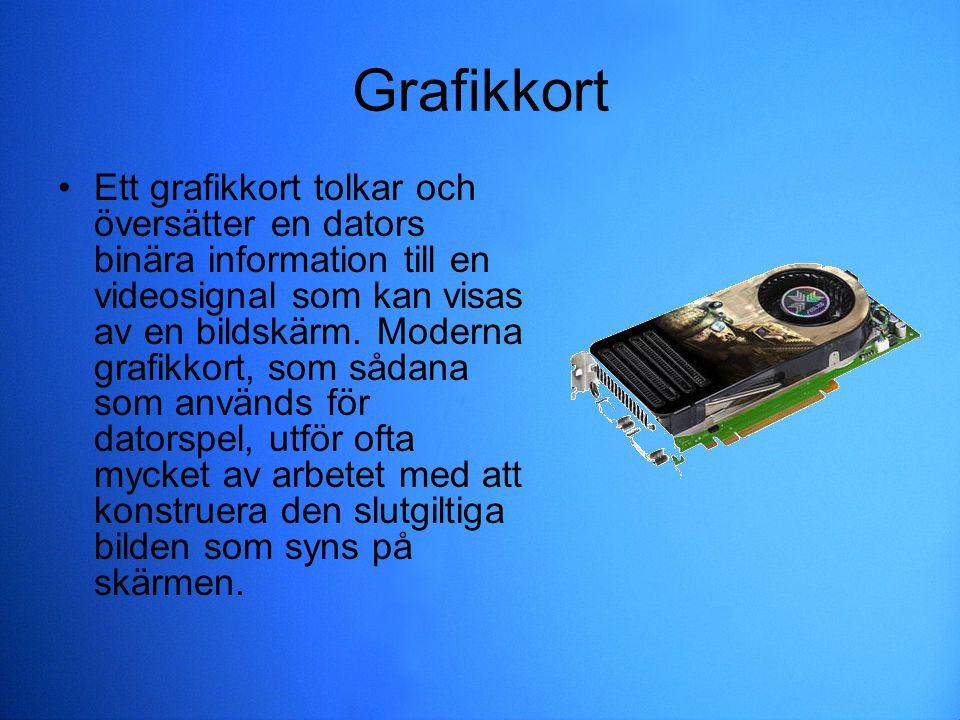 Grafikkort Ett grafikkort tolkar och översätter en dators binära information till en videosignal som kan visas av en bildskärm. Moderna grafikkort, so