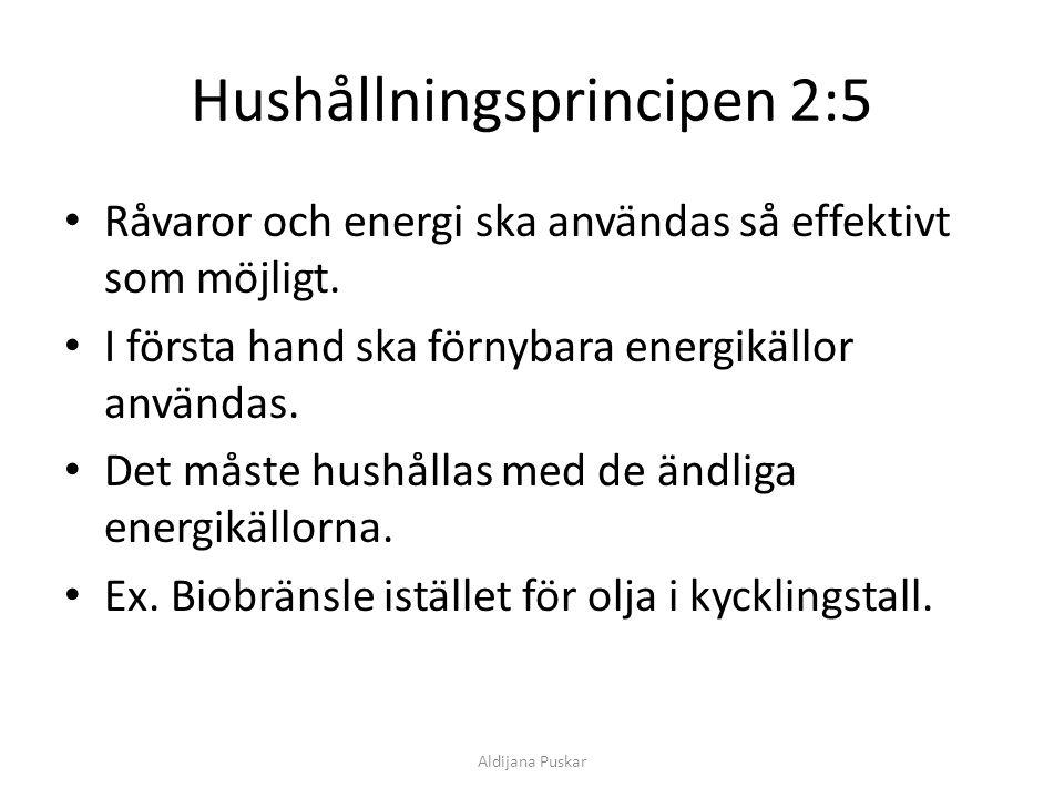 Hushållningsprincipen 2:5 Råvaror och energi ska användas så effektivt som möjligt. I första hand ska förnybara energikällor användas. Det måste hushå