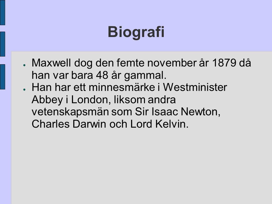 ● Maxwell dog den femte november år 1879 då han var bara 48 år gammal. ● Han har ett minnesmärke i Westminister Abbey i London, liksom andra vetenskap