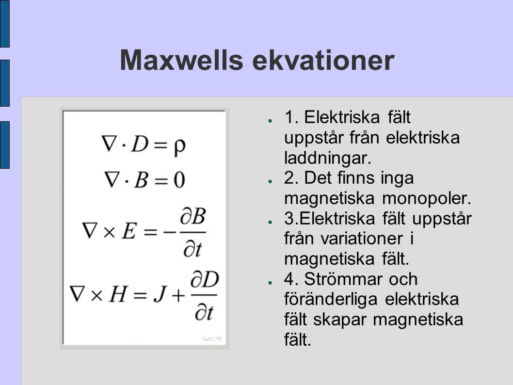Maxwells ekvationer ● 1. Elektriska fält uppstår från elektriska laddningar. ● 2. Det finns inga magnetiska monopoler. ● 3.Elektriska fält uppstår frå