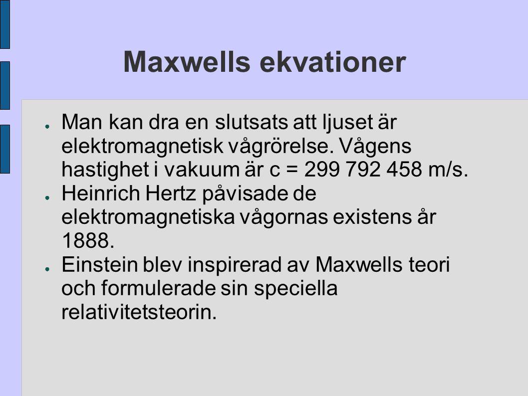 Maxwells ekvationer ● Man kan dra en slutsats att ljuset är elektromagnetisk vågrörelse. Vågens hastighet i vakuum är c = 299 792 458 m/s. ● Heinrich