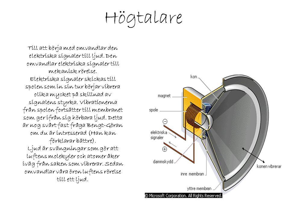 Högtalare Till att börja med omvandlar den elektriska signaler till ljud. Den omvandlar elektriska signaler till mekanisk rörelse. Elektriska signaler