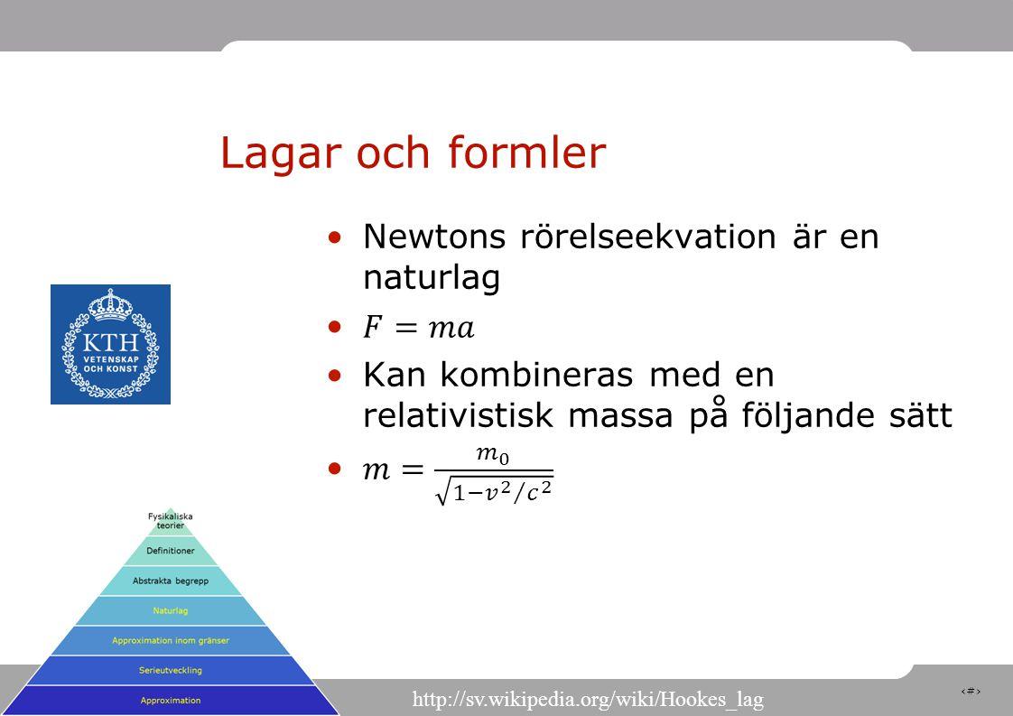 13 Lagar och formler http://sv.wikipedia.org/wiki/Hookes_lag
